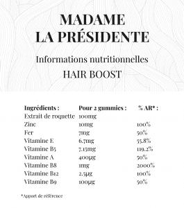 Tableau valeurs nutritionnelles Hair Boost Madame La Présidente