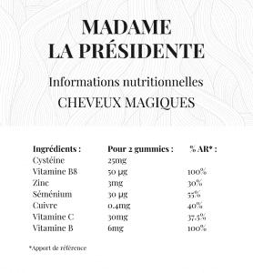 informations nutritionnelles Cheveux magiques Madame La Présidente